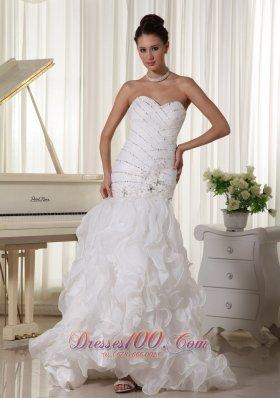 Beading Bodice Wedding Dress Layered Mermaid Sweetheart