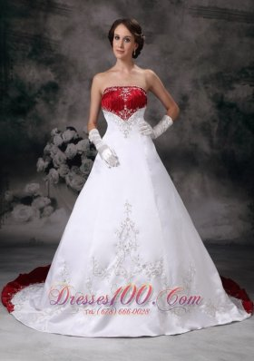 Elegant Wine Red Appliques Court Train Golden Wedding Dress