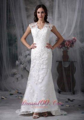 Sheath Lace Brush Train Wide Straps Wedding Dress