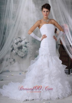 Ruch Bodice Mermaid Wedding Dress Layered Brush Train