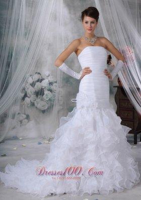 Ruch Bodice Mermaid Wedding Dress Layered Brush Train