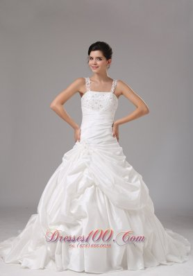 A-line Bridal Gown Embroidery Pick-ups with Straps