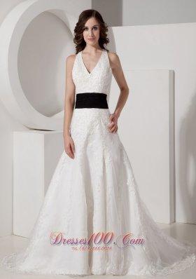Halter V-neck Black Sash Court Train Satin Wedding Dress