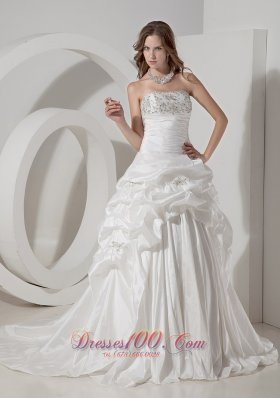 Wedding Gown A-line Chapel Train Teffeta Beading Pick-ups