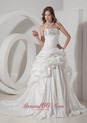 Wedding Gown A-line Chapel Train Teffeta Beading Pick-ups