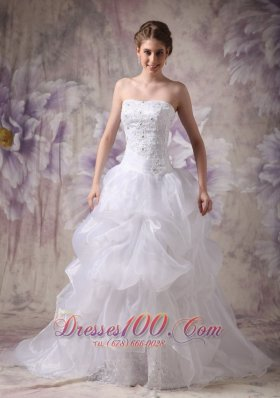 Wedding Dress Organza Beautiful Layered Chapel Train Bodice