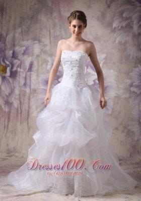 Wedding Dress Organza Beautiful Layered Chapel Train Bodice