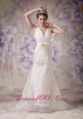 V-neck Sash Brush Tarin Outdoor Wedding Dress