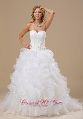 Sweetheart Ruffles Train Hand Made Flower Wedding Dress