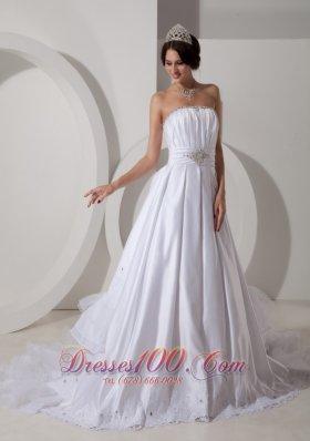 A-line Ruched Bodice Beading Sash Wedding Dress Taffeta
