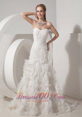 Mermaid Sweetheart Ruched Flowers Skirt Wedding Dress