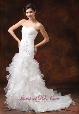 Mermaid Ruched Wedding Dress Beaded Ruffles Brush Train