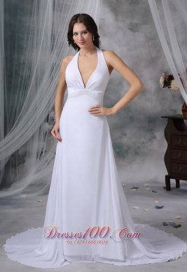 Deep V-neck Wedding Dress Halter Top Beaded Court Train