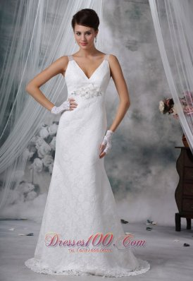 V-neck lace Decorate Column Wedding Dress