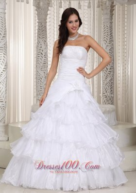 A-line Layered Organza Wedding Dress Beading Decorate