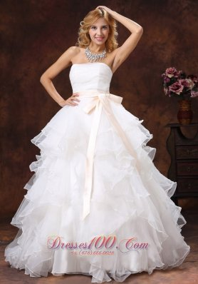 Ball Gown Layered Bridal Gown Sash Floor Length