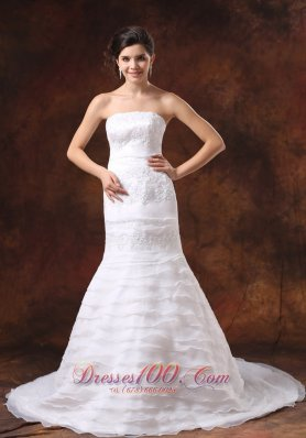Mermaid Brush Train Oaganza layered Church Wedding Dress