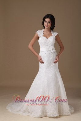 Mermaid Brush Lace Cap Sleeves Wedding Dress Beading
