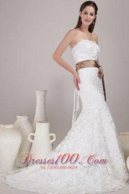 Elegant Wedding Dress Trumpet/Mermaid Strapless Court Train