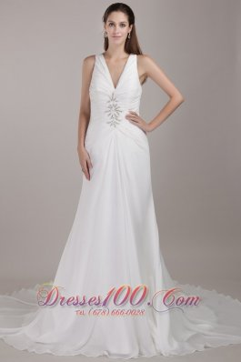 A-line V-neck Beaded Chapel Train Chiffon Wedding Dress
