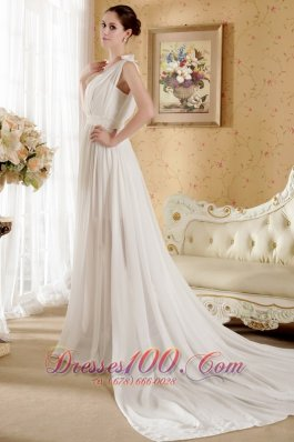 Empire V-neck Beach Wedding Dress Court Train Chiffon Bowknot