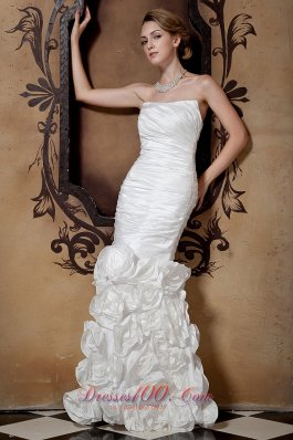 Mermaid Ruched Bodice Polling Flower Bridal Dress