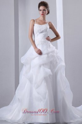 Spagthetti Straps Wedding Gown Court Train Cheap