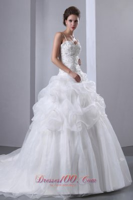 A-line Spaghetti Straps Wedding Dress Beading Decorate
