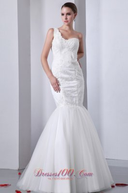 One Shoulder Mermaid Tulle Indoor Wedding Dress