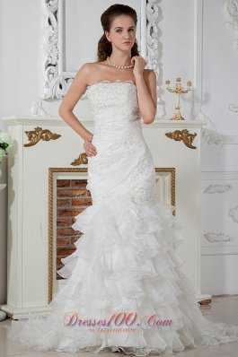 Column Strapless Ruch Wedding dress layered