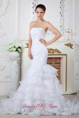 Mermaid Strapless Court Train Organza Appliques