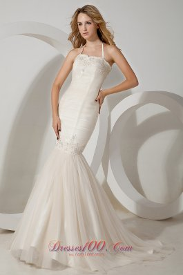 Mermaid Halter Wedding Dress Tulle Brush Train