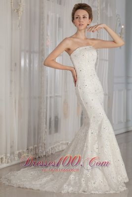 Trumpet /Mermaid Strapless Court Train Wedding Gown