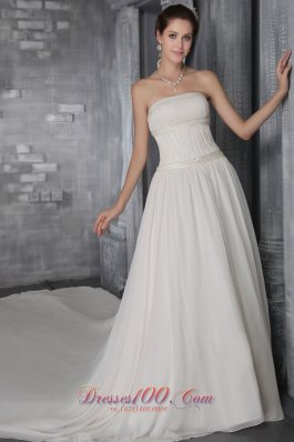 Strapless Sheath Princess Cathedral Train Chiffon Wedding Gown
