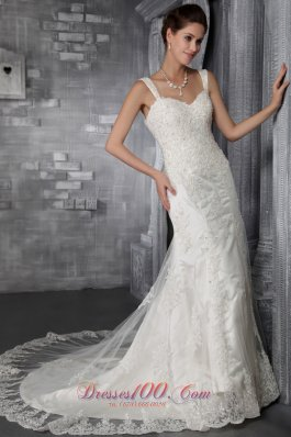 Mermaid/Trumpet Court Train Lace Wedding Dress