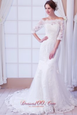 Mermaid Off the Shoulder Court Train Lace Wedding Dress