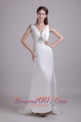 White Column V-neck Brush Train Taffeta beading Wedding dress