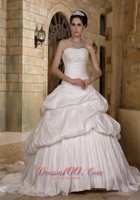 A-line Strapless Court Train Taffeta Appliques Weddong Gown