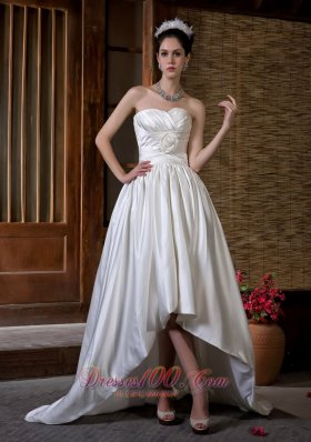 High Low Wedding Dress Hand Made Flowers Sweetheart Train