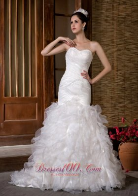 Fashionable Mermaid Sweetheart Wedding Dress Layered