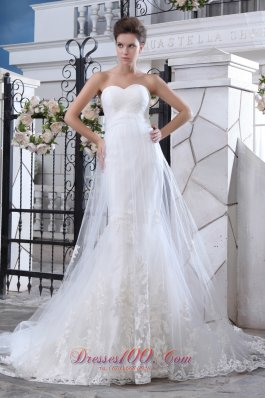 Mermaid Sweetheart Lace Wedding Dress Court Train