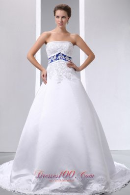 A-line Strapless Appliques Ball Gown Wedding Dress