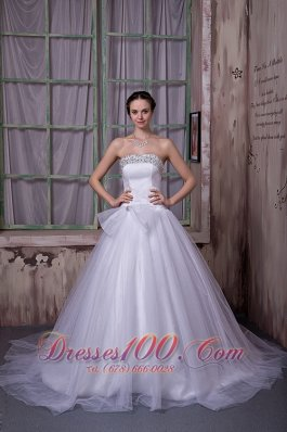 Surprising Beading Decorate A-line Wedding Dress Satin Train