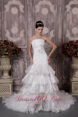 Layered Wedding Dress Strapless Court Train Discount