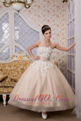 Champagne Strapless Ankle-length Tulle Appliques Wedding Gown