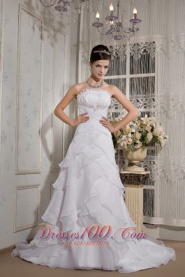 A-line Strapless Court Train Organza Appliques Wedding Gown