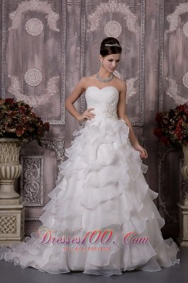 A-line Sweetheart Court Train Summer Wedding Gown