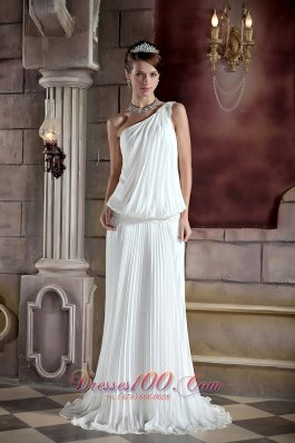 Summer One Shoulder Court Train Wedding Dress Ruched