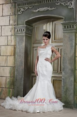 Custom Made Mermaid One Shoulder Court Train Wedding Gown