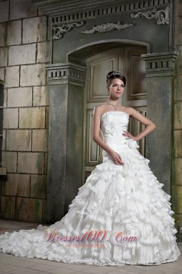 Exquisite A-line Ruffles Chapel Train Bridal Gown